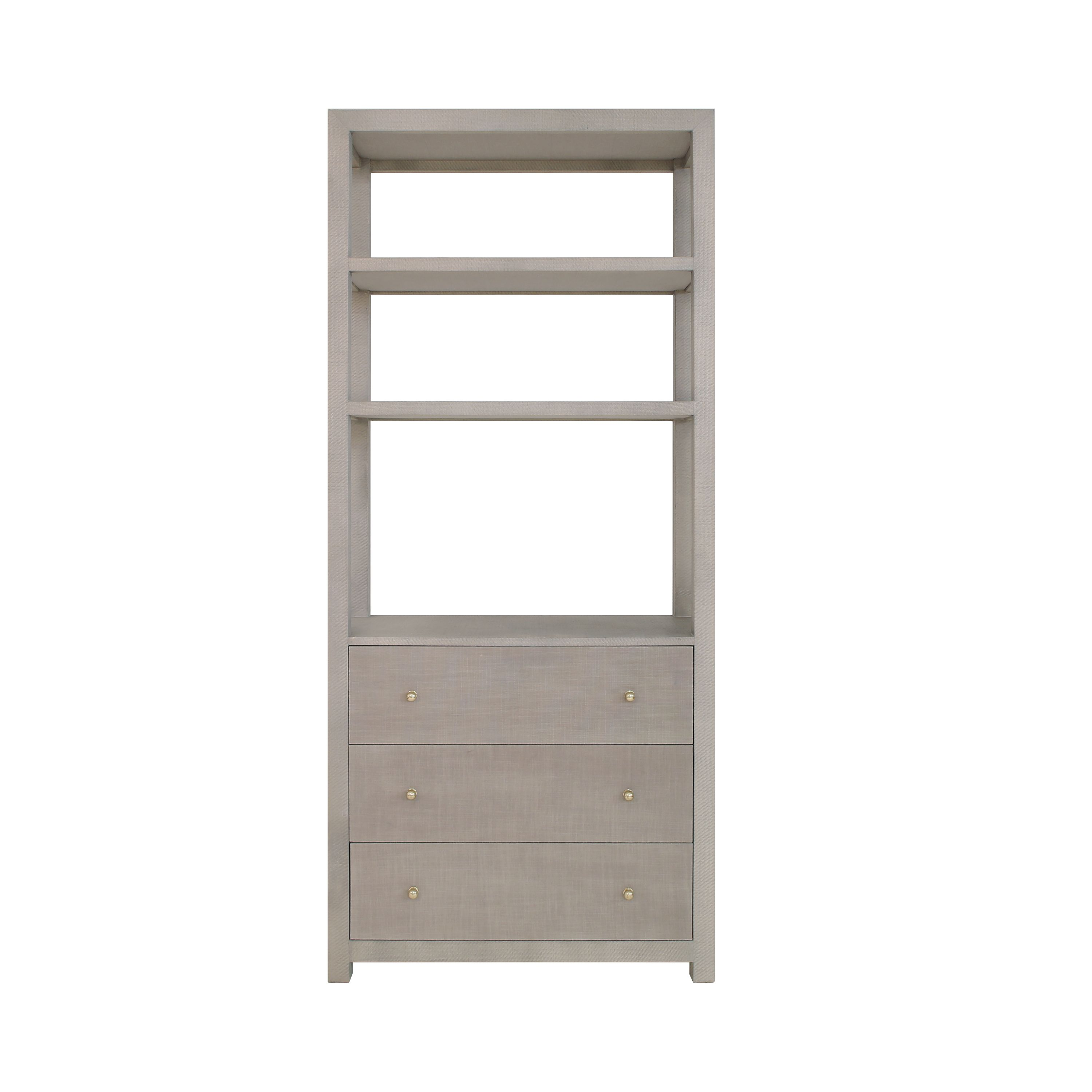 Etagere with Grey Grasscloth Case and Grey Linen Drawer