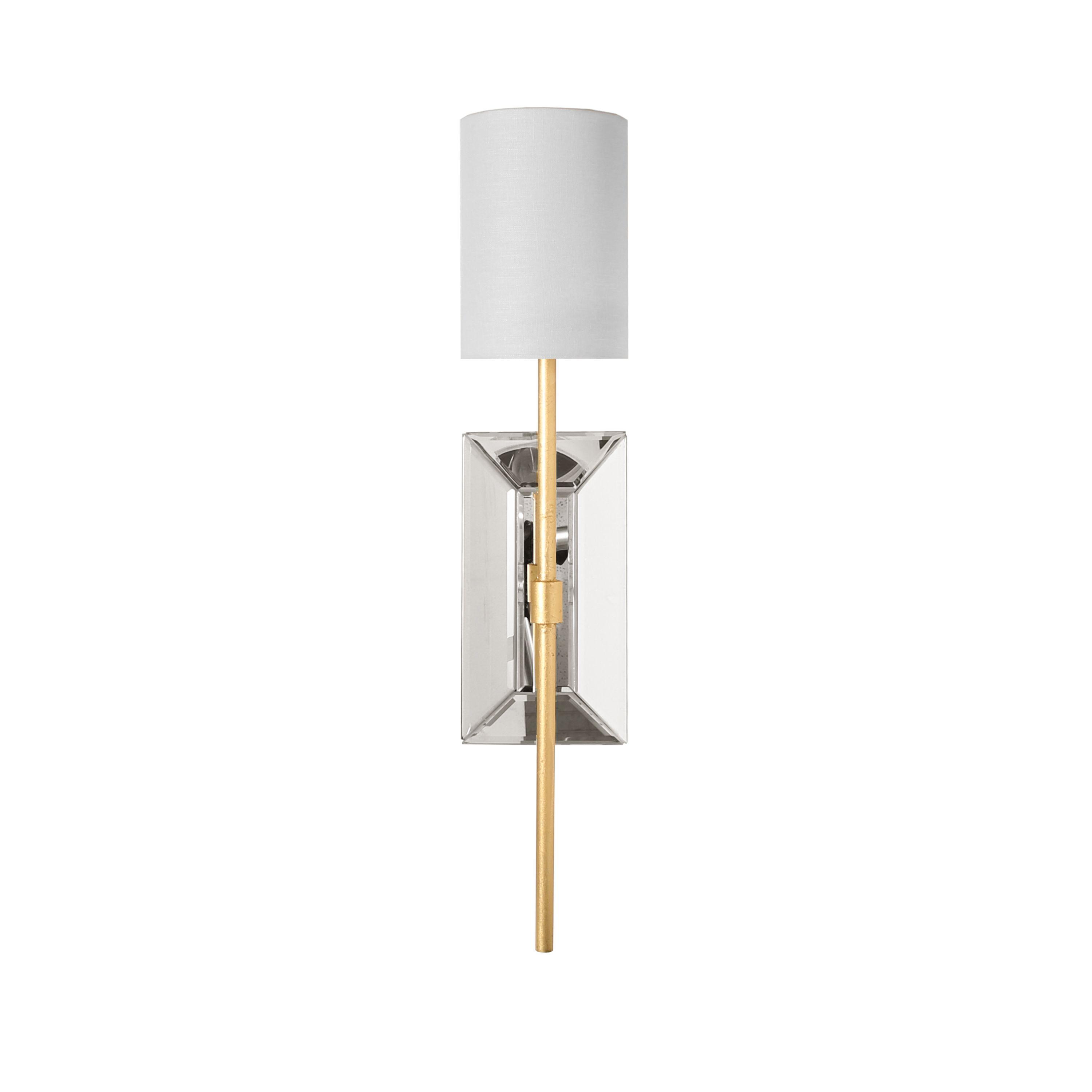 Mirror & Gold Leaf Wall Sconce with White Linen Shade