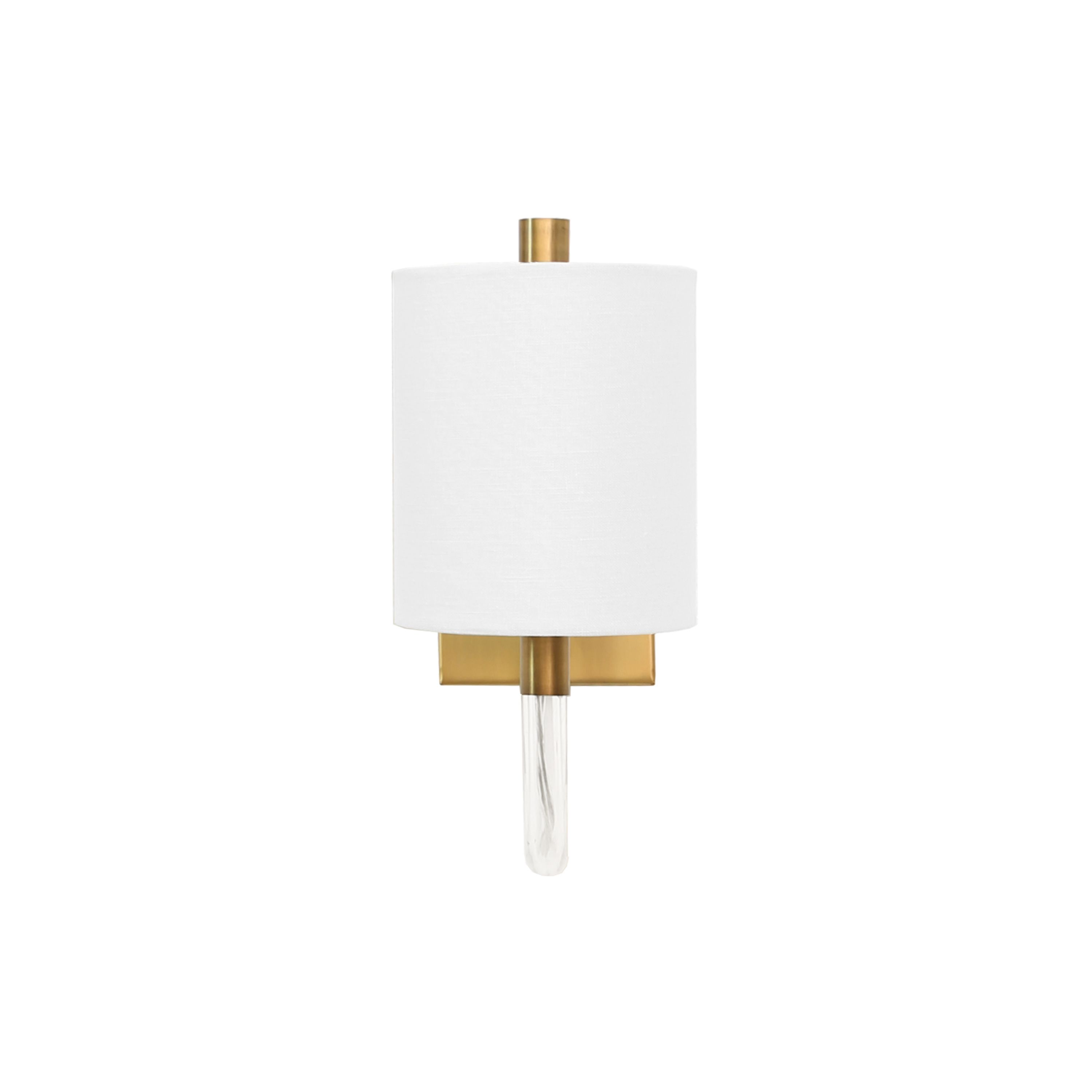 Sconce with Acrylic Neck & White Shade in Antique Brass