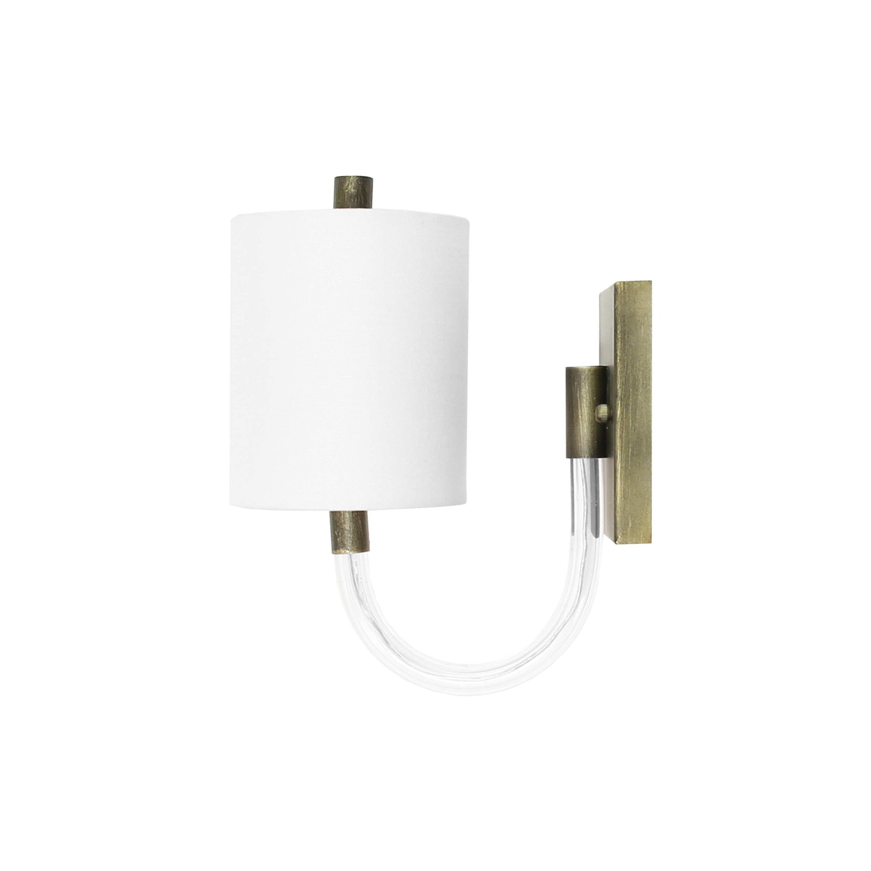 Sconce with Acrylic Neck & White Shade in Bronze