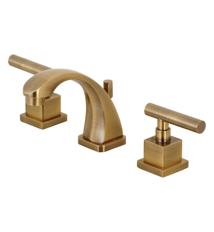 "4 3/8"" Double Metal Lever Handle Widespread Bathroom Sink Faucet with Pop-Up Drain in Antique Brass"