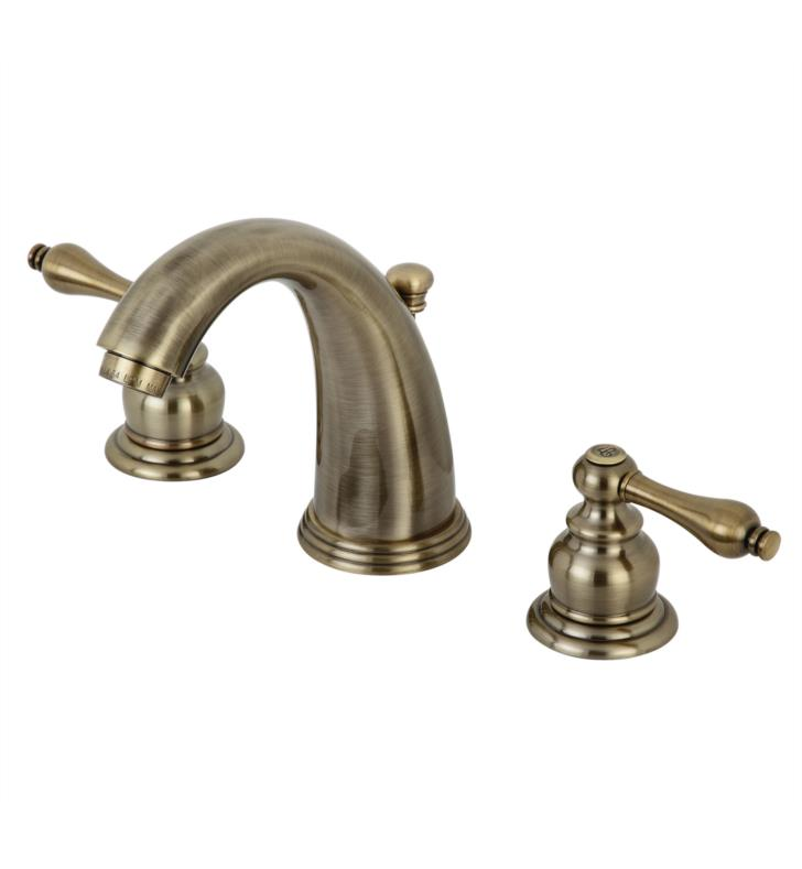 "5 3/4"" Double Metal Lever Handle Widespread Bathroom Sink Faucet with Pop-Up Drain in Antique Brass"