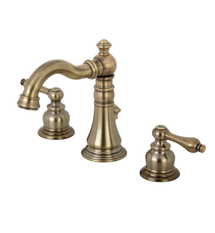 "English Classic 6"" Double Metal Lever Handle Widespread Bathroom Sink Faucet with Pop-Up Drain in Antique Brass"