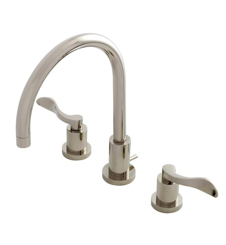 "NuWave 11 5/8"" Double Lever Handle Widespread Bathroom Sink Faucet with Pop-Up Drain in Polished Nickel"
