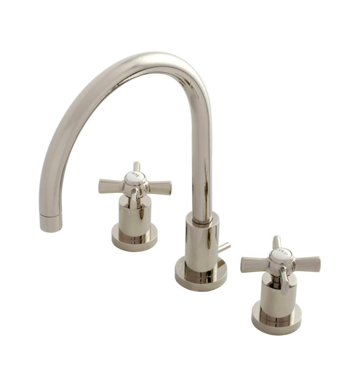 "Millennium 11 5/8"" Double Lever Handle Widespread Bathroom Sink Faucet with Pop-Up Drain in Polished Nickel"