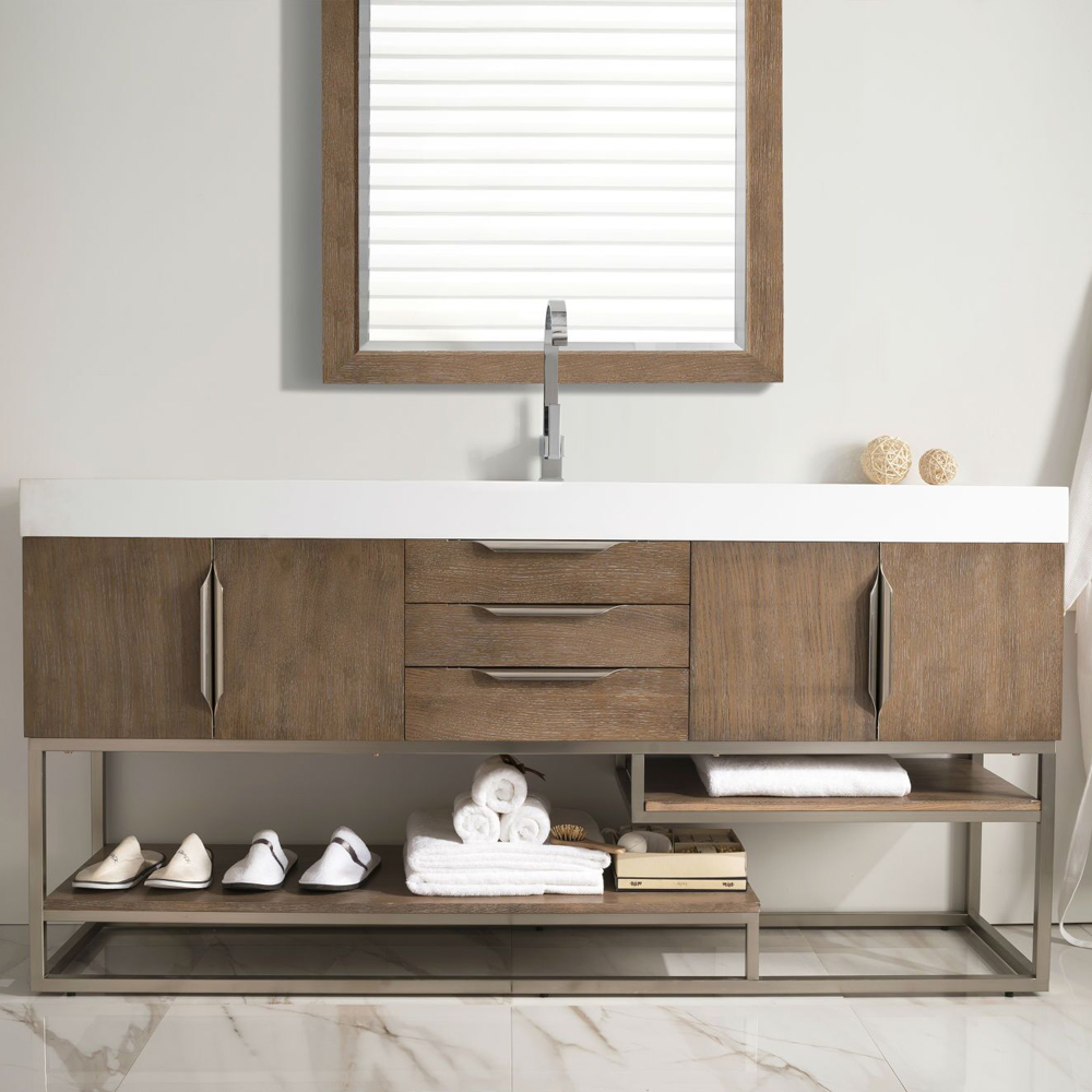 "James Martin Columbia Collection 72"" Single Vanity, Latte Oak Finish"