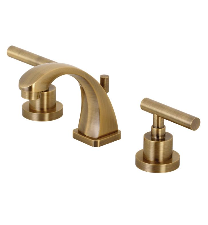 "Manhattan 4 3/8"" Double Metal Lever Handle Widespread Bathroom Sink Faucet with Pop-Up Drain in Antique Brass"
