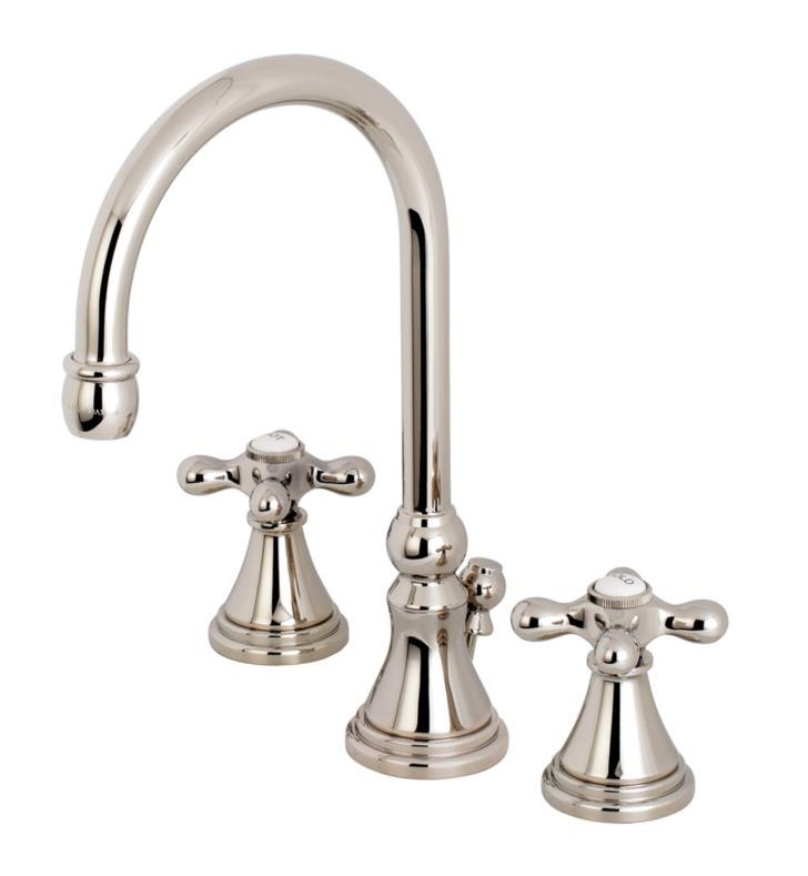 "Governor 11 1/2"" Double Metal Cross Handle Widespread Bathroom Sink Faucet with Pop-Up Drain"