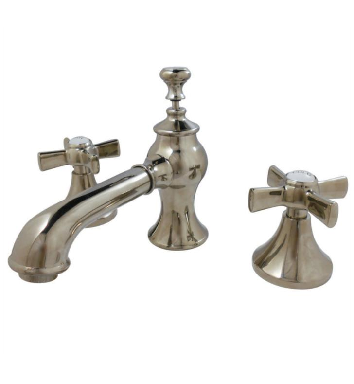 "Millennium 3 1/8"" Double Metal Cross Handle Widespread Bathroom Sink Faucet with Pop-Up Drain in Polished Nickel"