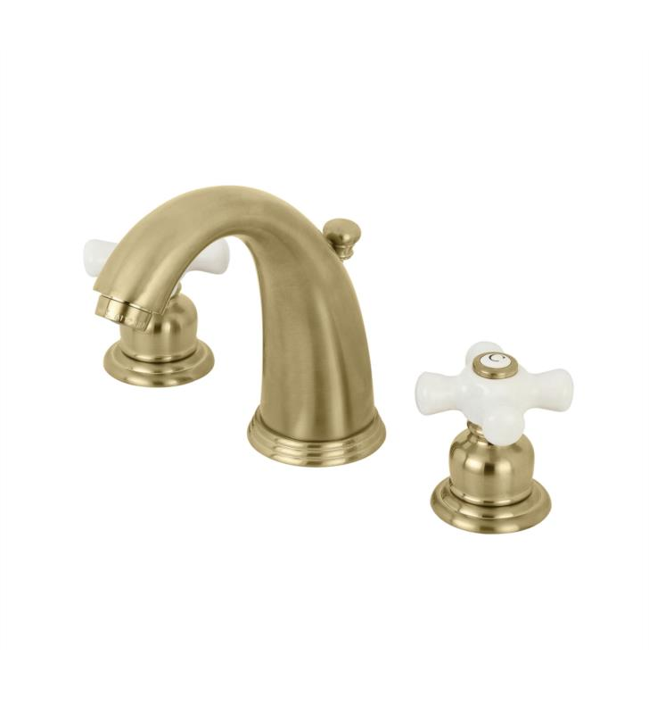 "Victorian 5 3/4"" Double Porcelain Cross Handle Widespread Bathroom Sink Faucet with Pop-Up Drain in Brushed Brass"