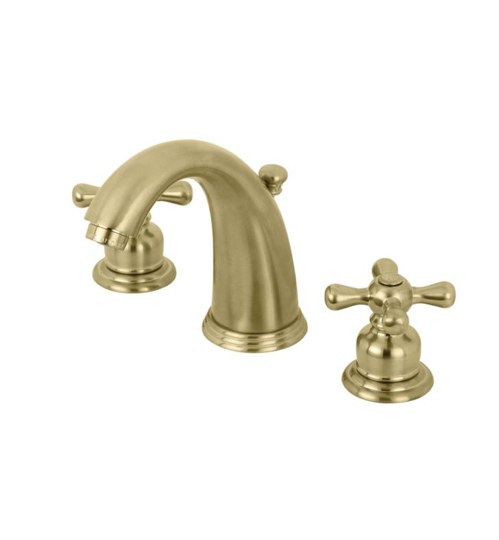 "Victorian 5 3/4"" Double Metal Cross Handle Widespread Bathroom Sink Faucet with Pop-Up Drain in Brushed Brass"