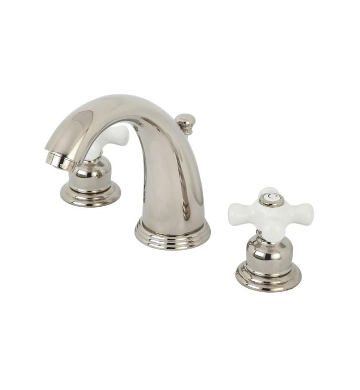 "Victorian 5 3/4"" Double Porcelain Cross Handle Widespread Bathroom Sink Faucet with Pop-Up Drain in Polished Nickel"