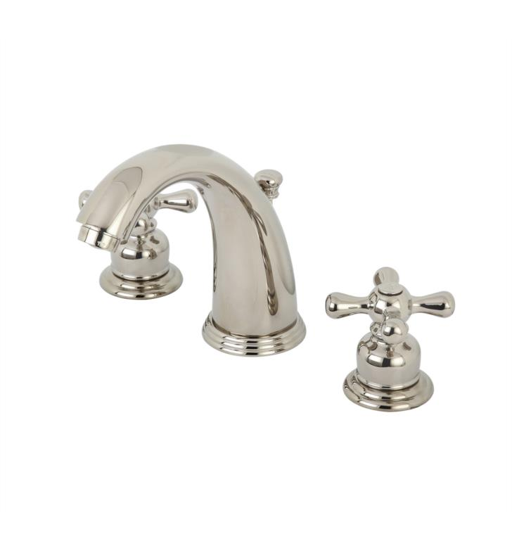 "Victorian 5 3/4"" Double Metal Cross Handle Widespread Bathroom Sink Faucet with Pop-Up Drain in Polished Nickel"
