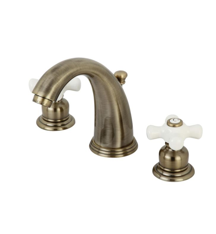 "Victorian 5 3/4"" Double Porcelain Cross Handle Widespread Bathroom Sink Faucet with Pop-Up Drain in Antique Brass"