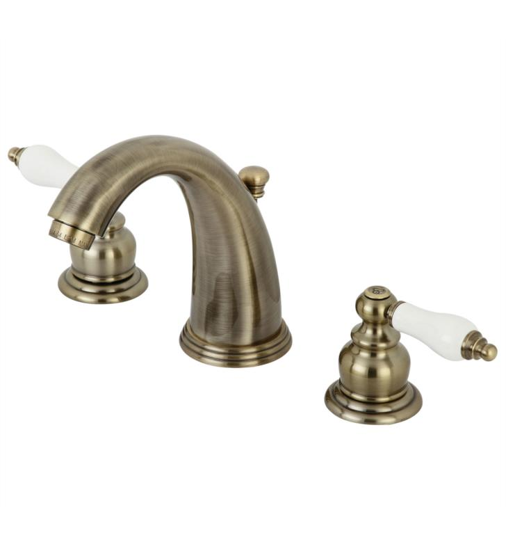"Victorian 5 3/4"" Double Porcelain Lever Handle Widespread Bathroom Sink Faucet with Pop-Up Drain in Antique Brass"