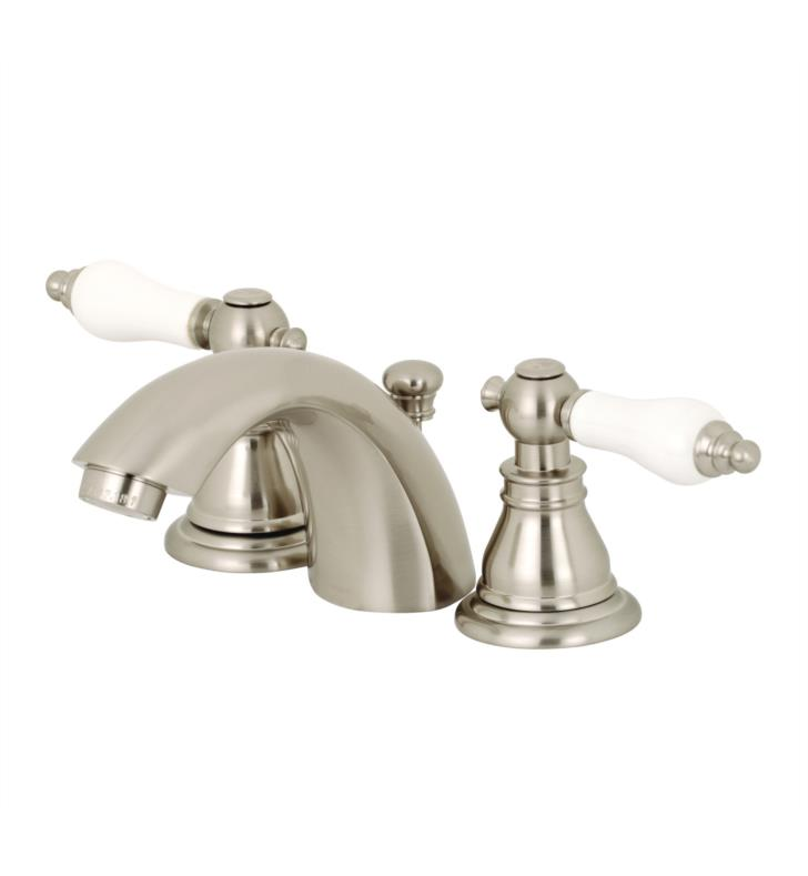 "American Patriot 3 3/8"" Double Porcelain Lever Handle Mini - Widespread Bathroom Sink Faucet with Pop-Up Drain"