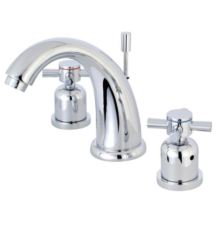 "Concord 5 3/4"" Double Metal Cross Handle Widespread Bathroom Sink Faucet with Pop-Up Drain"