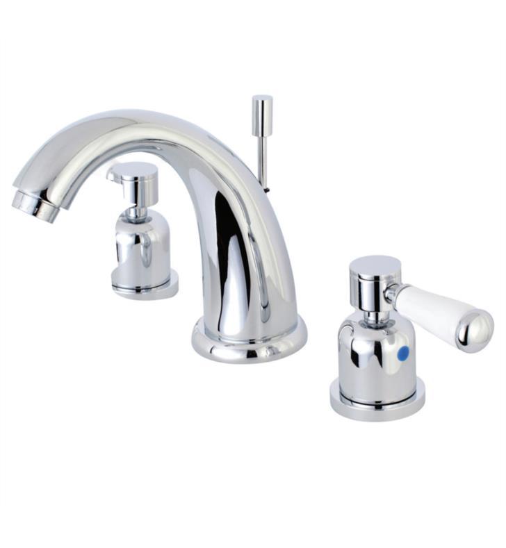 """Paris 5 3/4"""" Double Porcelain Lever Handle Widespread Bathroom Sink Faucet with Pop-Up Drain"""