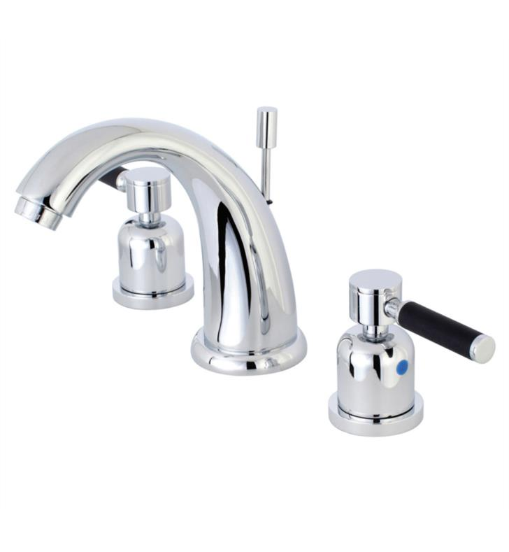 "Kaiser 5 3/4"" Double Porcelain Rubber - Coated Lever Handle Widespread Bathroom Sink Faucet with Pop-Up Drain"