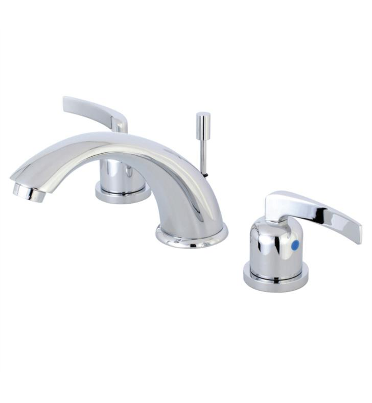 "Centurion 4 1/8"" Double Metal Lever Handle Widespread Bathroom Sink Faucet with Pop-Up Drain"