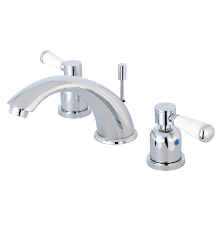 """Paris 4 1/8"""" Double Porcelain Lever Handle Widespread Bathroom Sink Faucet with Pop-Up Drain"""