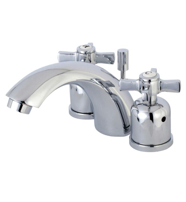 "Millennium 3 3/8"" Double Metal Cross Handle Mini - Widespread Bathroom Sink Faucet with Pop-Up Drain"