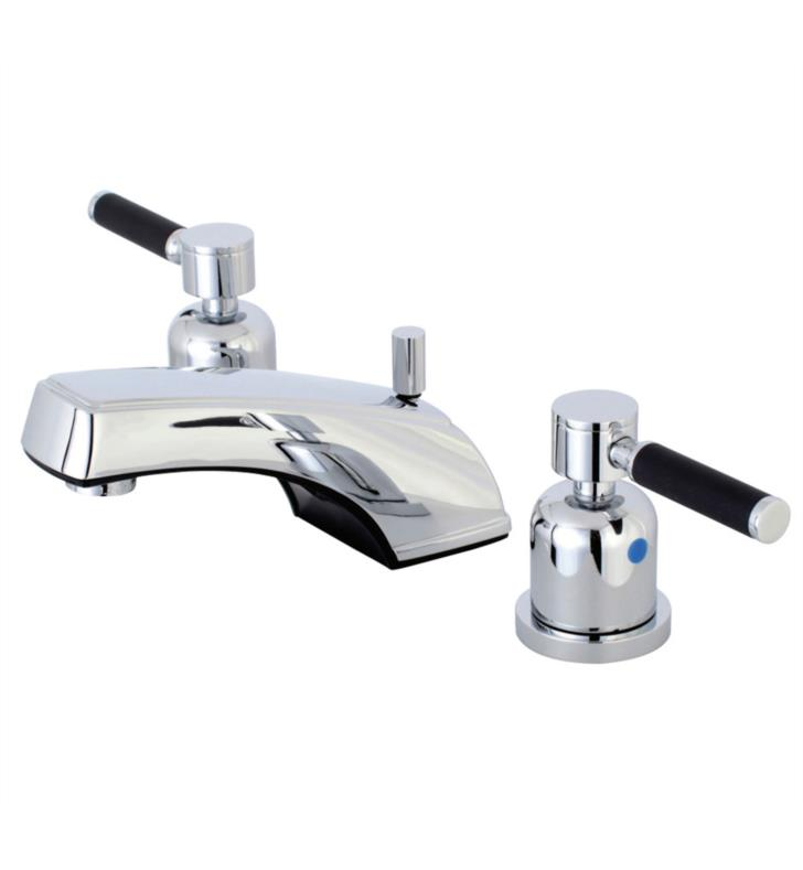 "Kaiser 3 1/4"" Double Porcelain Rubber - Coated Lever Handle Widespread Bathroom Sink Faucet with Pop-Up Drain"
