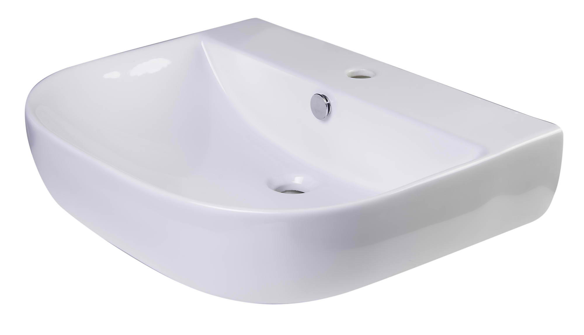 "ALFI Brand AB111 24"" White D-Bowl Porcelain Wall Mounted Bath Sink"