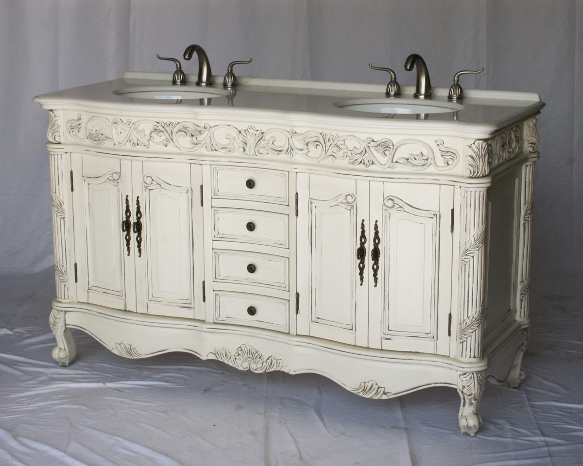 "60"" Adelina Antique Style Double Sink Bathroom Vanity in Antique White Finish with Imperial White Stone Countertop and Oval White Porcelain Sink"