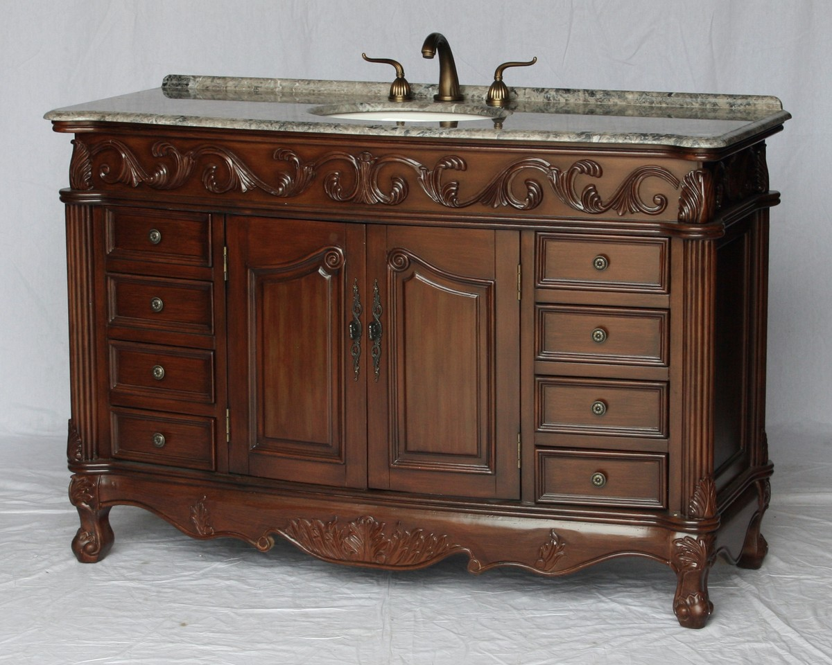 """54"""" Adelina Antique Style Single Sink Bathroom Vanity in Walnut Finish with Gray Granite Countertop and Oval White Porcelain Sinks"""