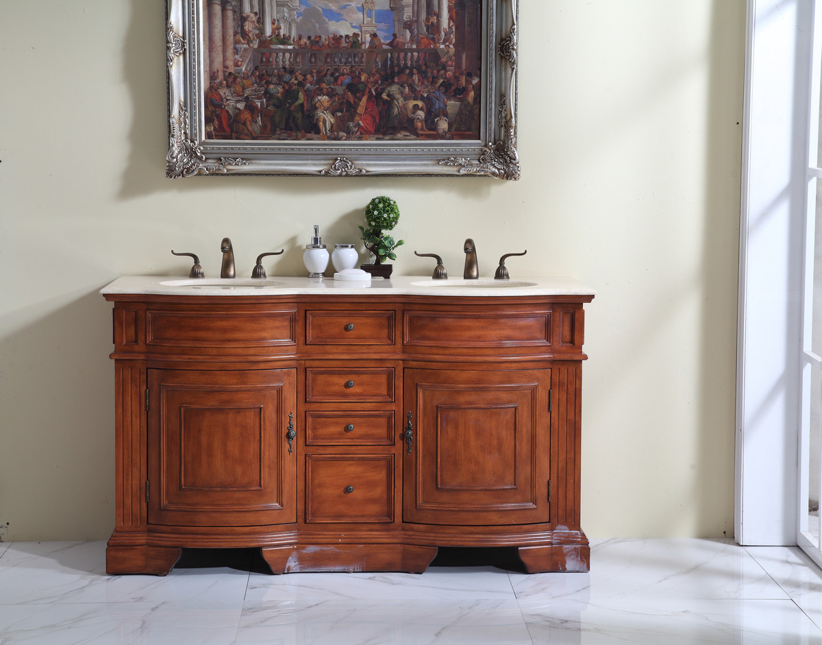 "60"" Adelina Traditional Style Double Sink Bathroom Vanity in Walnut Finish with Beige Stone Countertop and Oval Bone Porcelain Sink"