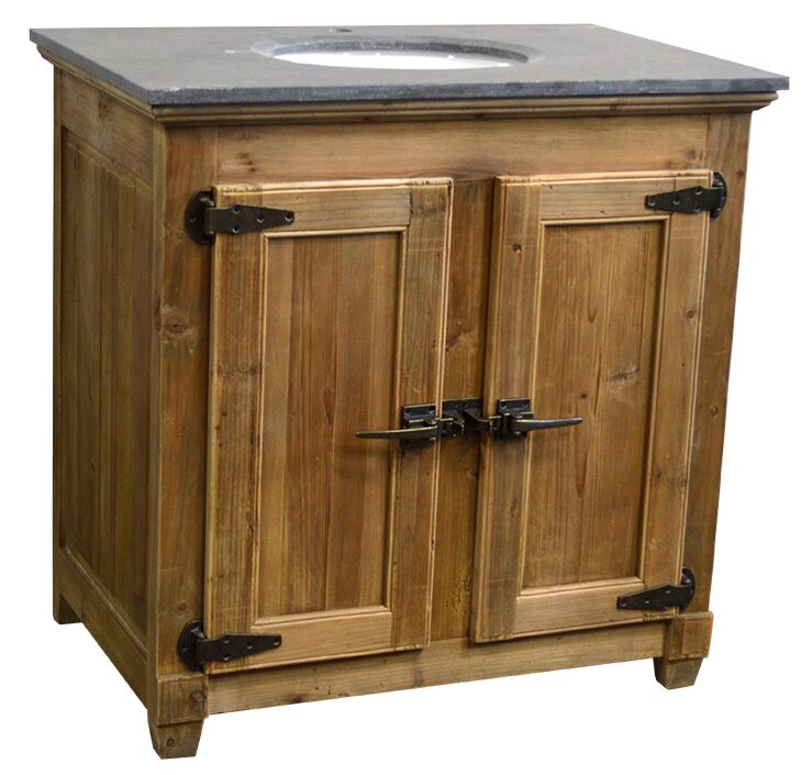 "36"" Handcrafted Reclaimed Pine Solid Wood Single Bath Vanity Natural Finish"