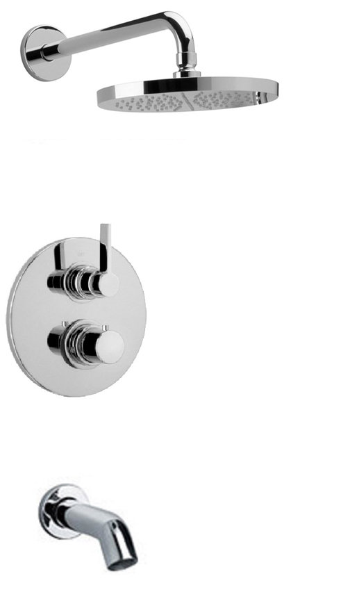 Thermostatic Tub and Shower Set With 2-Way Diverter Volume Control - Chrome Finish