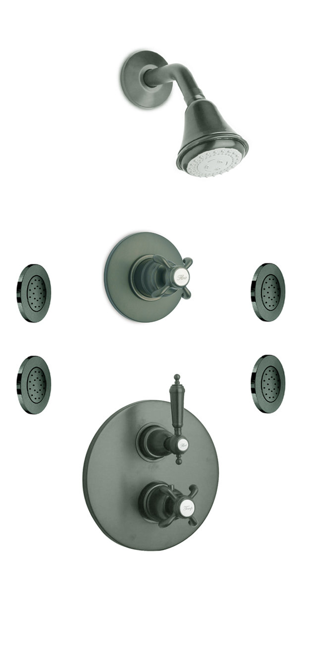 "Thermostatic Shower With 3/4"" Ceramic Disc Volume Control, 3-Way Diverter and 4 Concealed Body Jets in 3 Color Options"