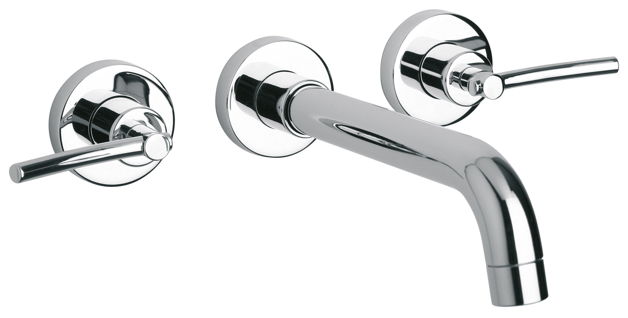 Wall-mount Lavatory Faucet with Lever Handles in Chrome