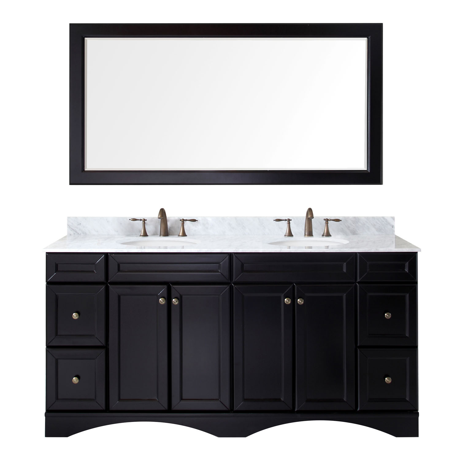 "72"" Double Bath Vanity in Espresso with Marble Top and Round Sink with Faucet and Mirror Options"