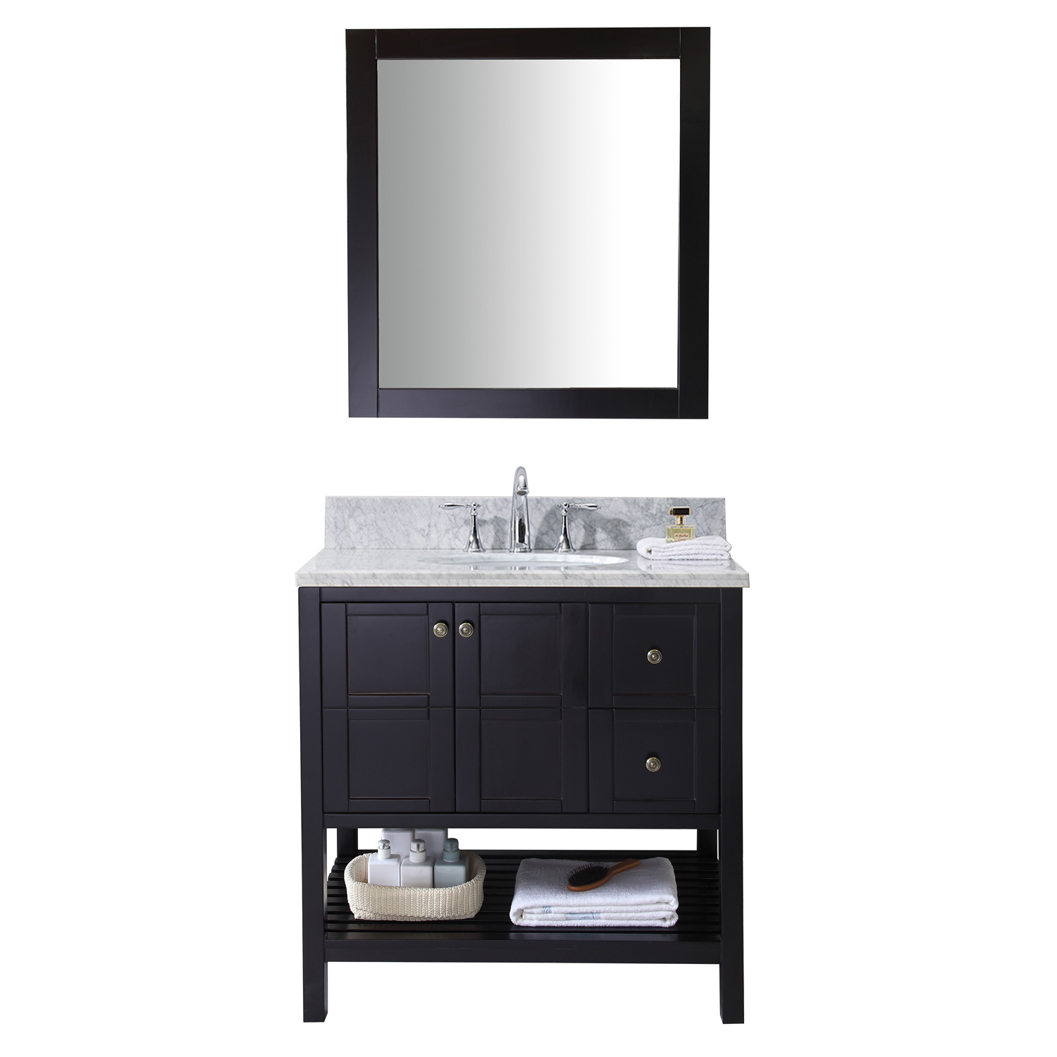 "36"" Single Bath Vanity in Espresso with Top, Sink and Mirror Options"