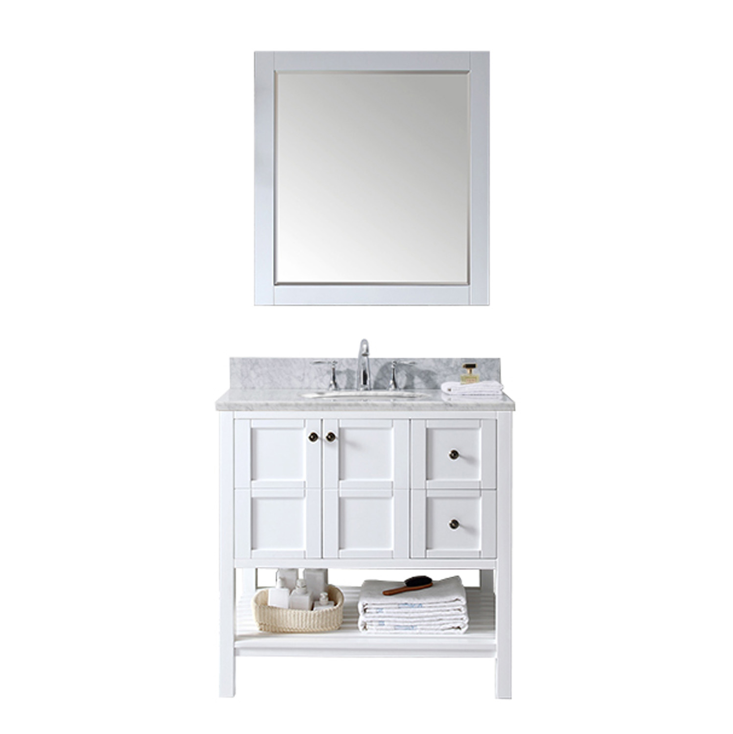 "36"" Single Bath Vanity in White with Top, Sink and Mirror Options"