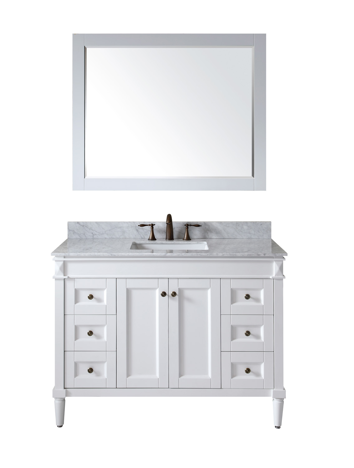 "48"" Cabinet Only in White with Top, Sink and Mirror Options"