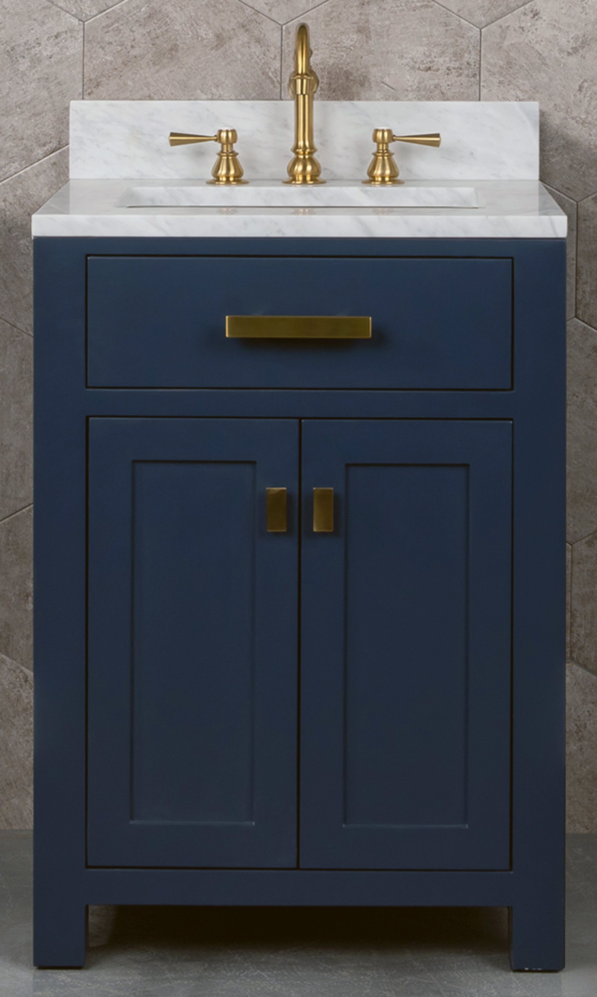 "24"" Single Sink Carrara White Marble Vanity In Monarch Blue Color"