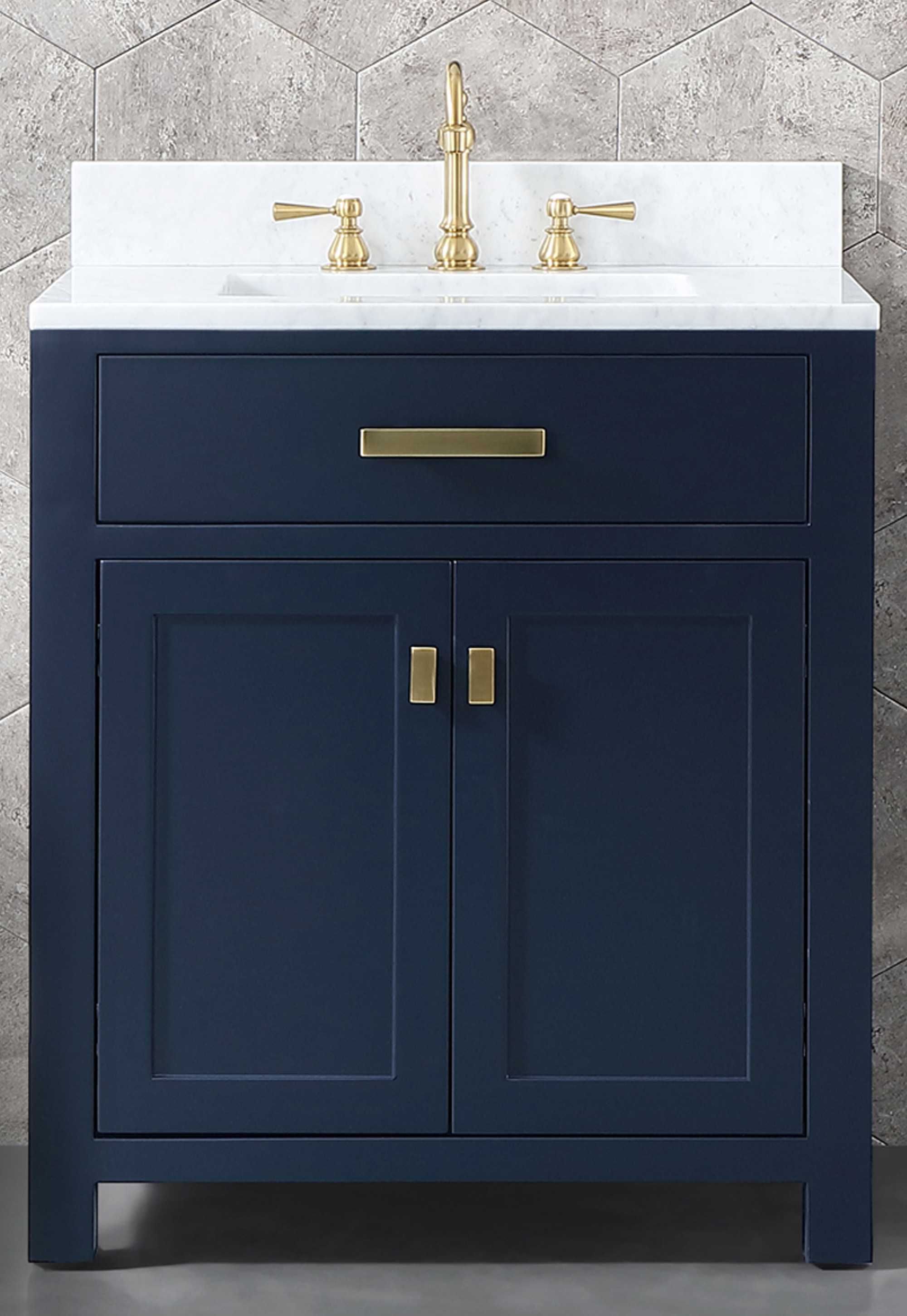 "30"" Single Sink Carrara White Marble Vanity In Monarch Blue Color"