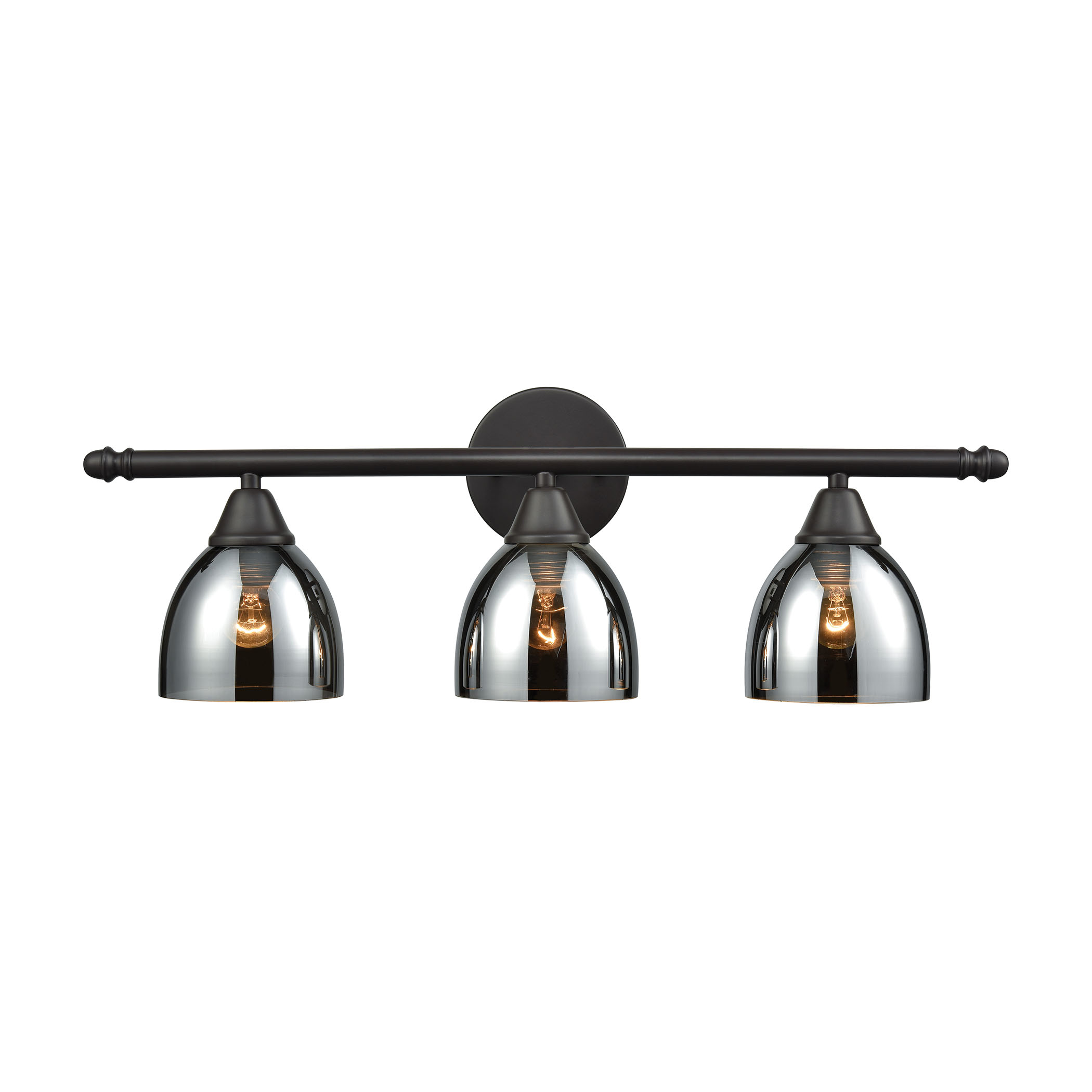Reflections 3 Light Vanity in Oil Rubbed Bronze with Chrome Plated Glass