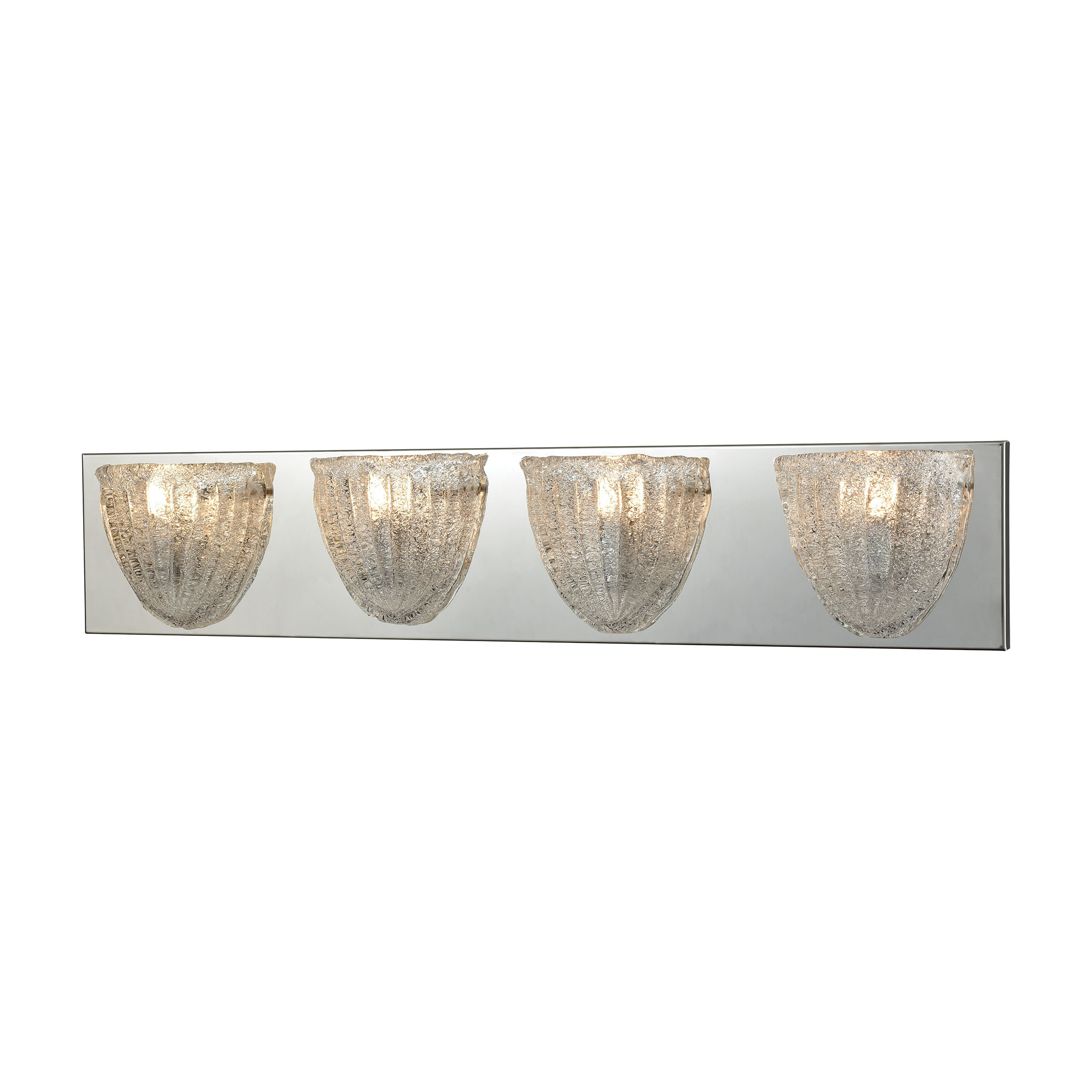 Verannis 4 Light Vanity in Polished Chrome with Hand-Formed Clear Sugar Glass