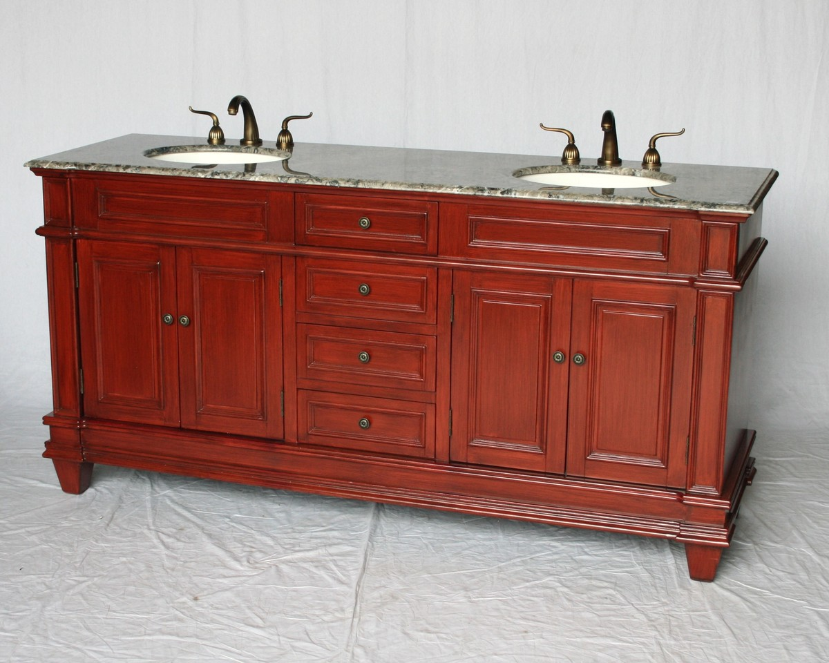 "72"" Adelina Traditional Style Double Sink Bathroom Vanity Cherry Finish with Gray Granite Countertop and Oval White Porcelain Sinks"