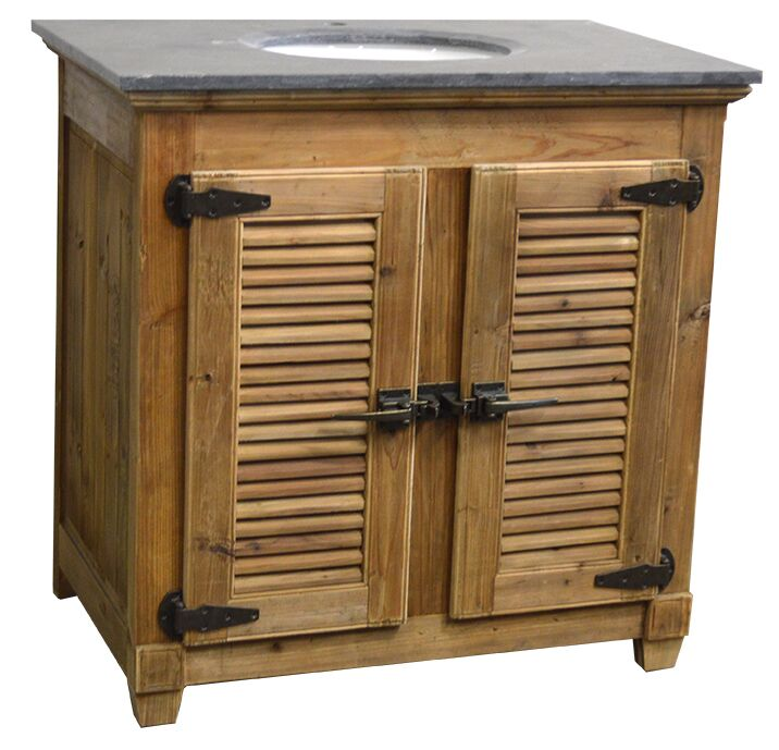 "36"" Handcrafted Reclaimed Pine Solid Wood Single Bath Vanity"