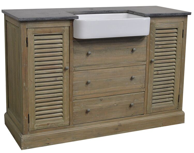 "54"" Handcrafted Reclaimed Pine Solid Wood Single Belgium Sink Bath Vanity Wash Finish"