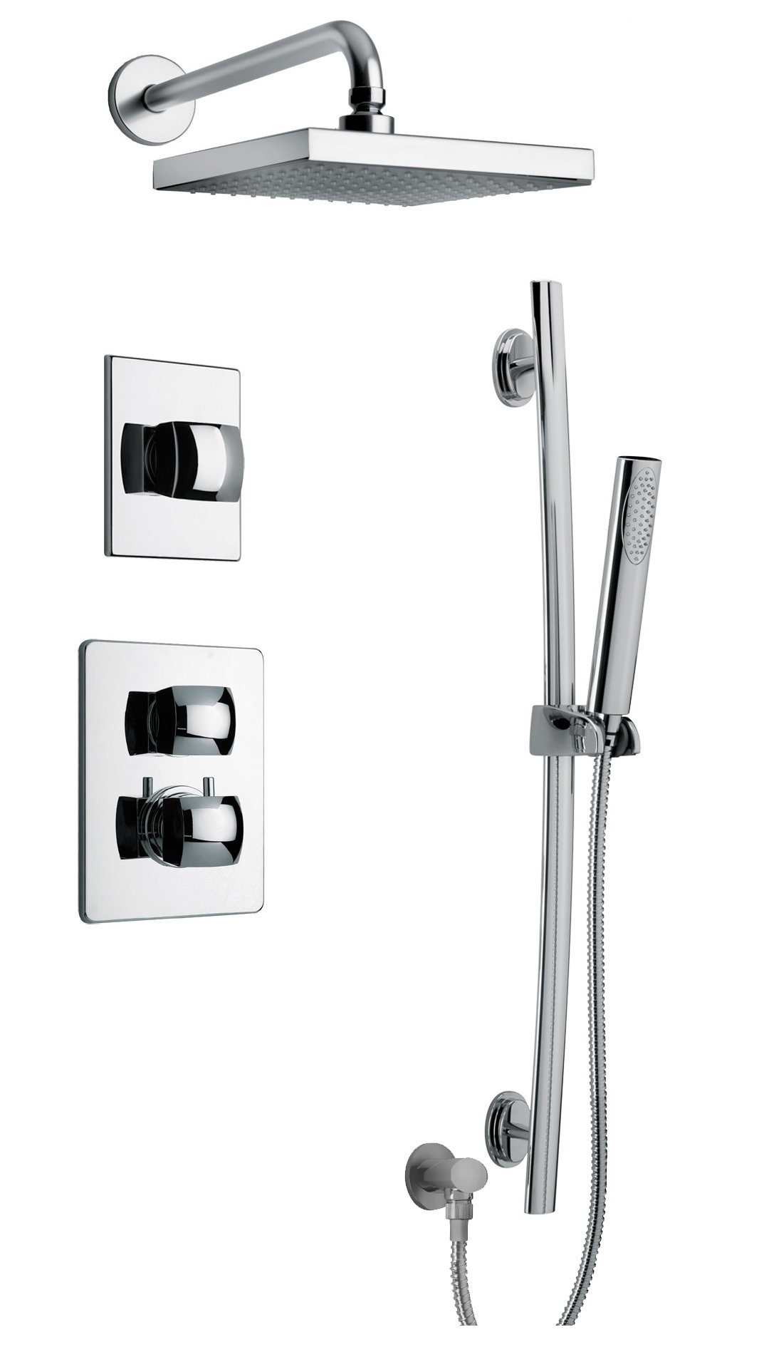 "Thermostatic Shower With 3/4"" Ceramic Disc Volume Control, 3-Way Diverter and Slide Bar in Chrome"
