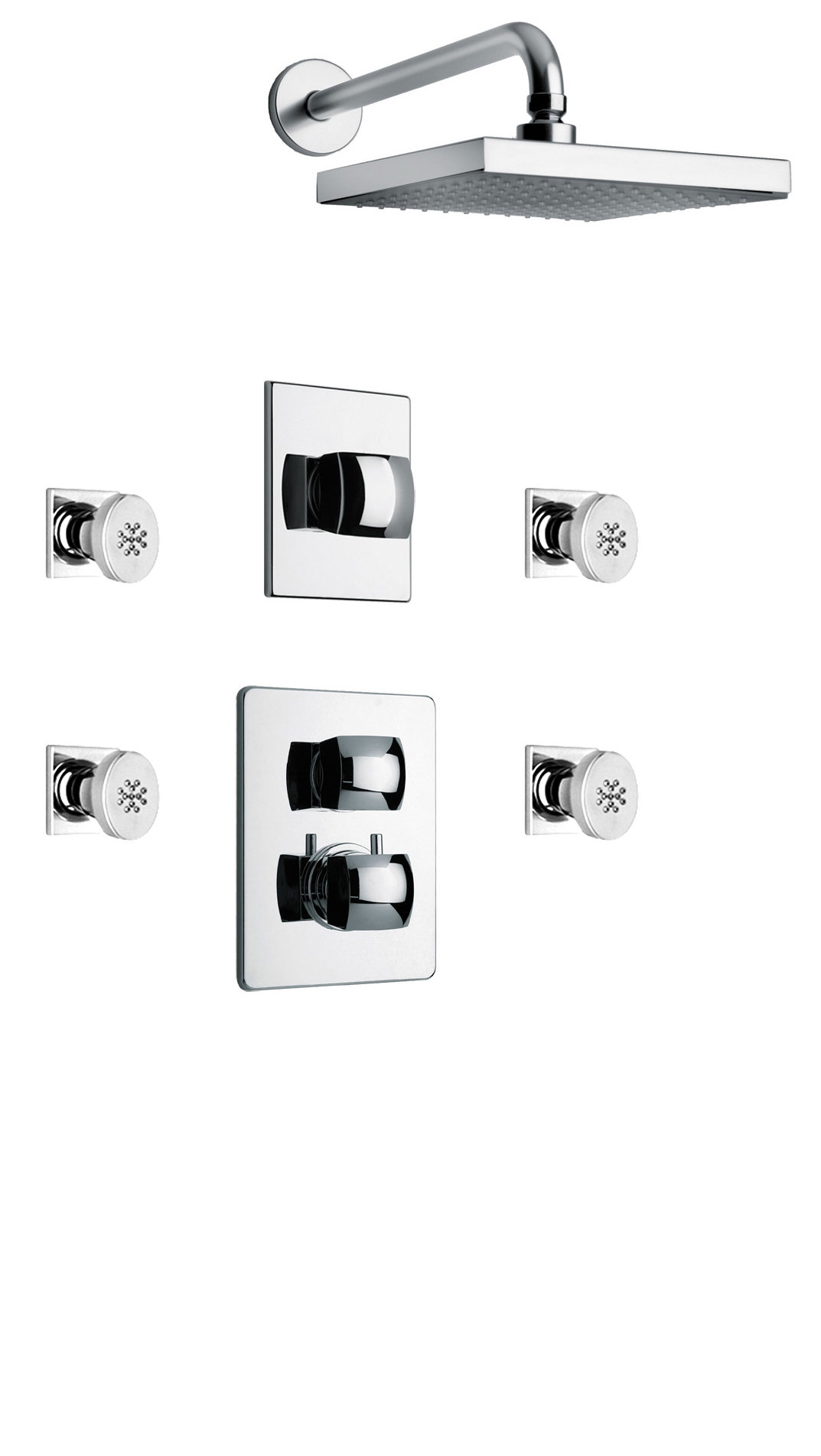 "Thermostatic Shower With 3/4"" Ceramic Disc Volume Control, 3-Way Diverter, 4 Body Jets in Chrome Finish"