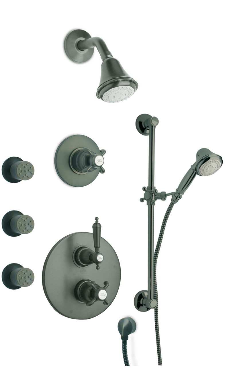 "Thermostatic Shower With 3/4"" Ceramic Disc Volume Control, 3-Way Diverter, Slide Bar and 3 Body Jets with 3 Color Options"
