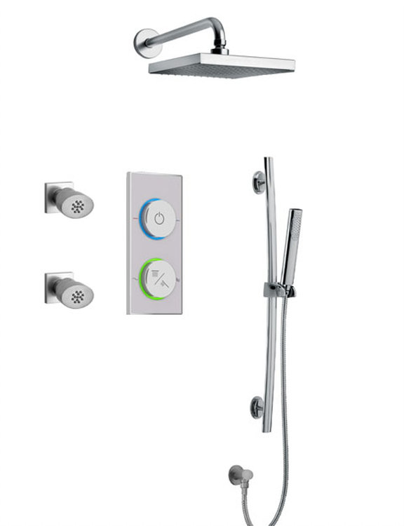 Digital Shower System With Showerhead, Slide Bar and 2 Body Jets in 2 Color Options